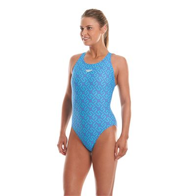 Speedo Monogram Allover Muscleback Ladies Swimsuit Left Side View