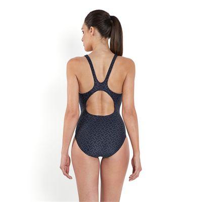 Speedo Monogram Allover Muscleback Swimsuit - Back View