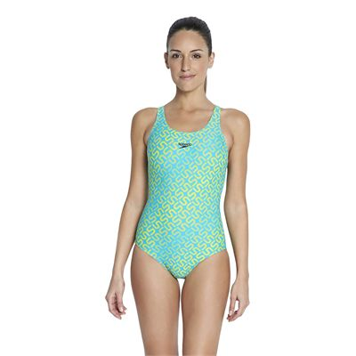 Speedo Monogram Allover Muscleback Swimsuit - green yellow - third image