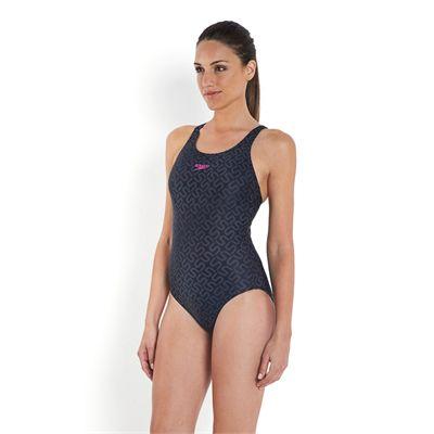 Speedo Monogram Allover Muscleback Swimsuit - Left Side View