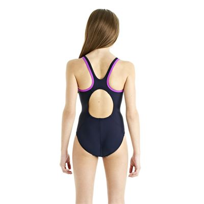 Speedo Monogram Muscleback Girls Swimsuit AW13 navy purple back