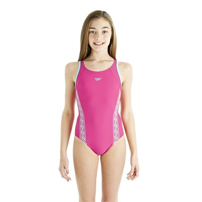 Speedo Monogram Muscleback Girls Swimsuit AW13 pink