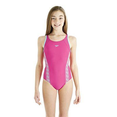 Speedo Monogram Muscleback Girls Swimsuit AW13 pink