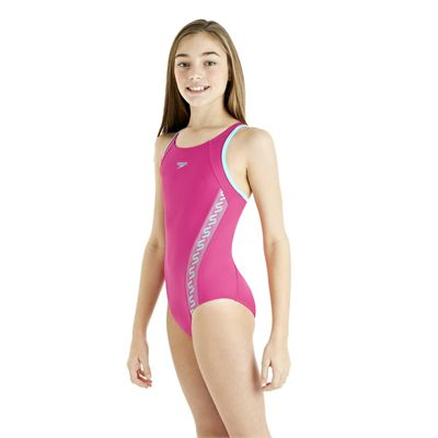 Speedo Monogram Muscleback Girls Swimsuit AW13 pink side