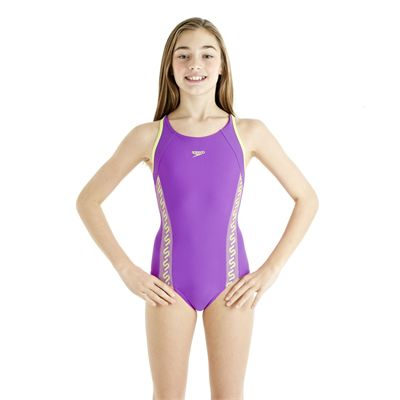 Speedo Monogram Muscleback Girls Swimsuit AW13 purple