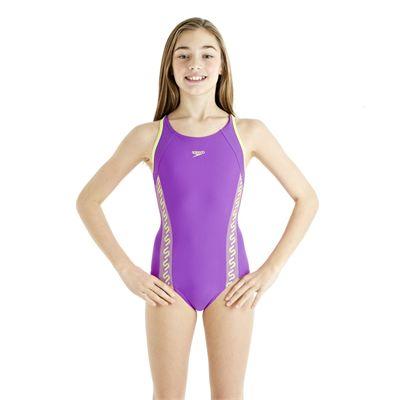 Speedo Monogram Muscleback Girls Swimsuit AW13 purple