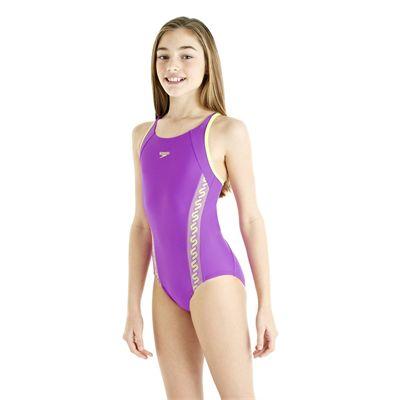 Speedo Monogram Muscleback Girls Swimsuit AW13 purple side