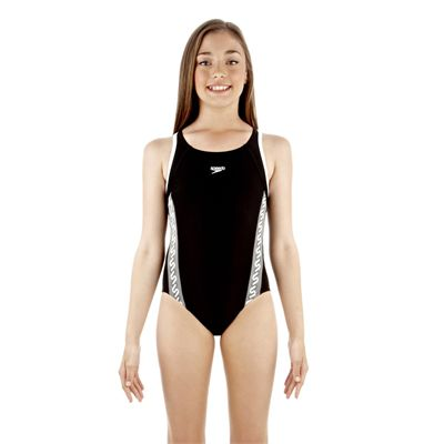 Speedo Monogram Muscleback Girls Swimsuit Black/White