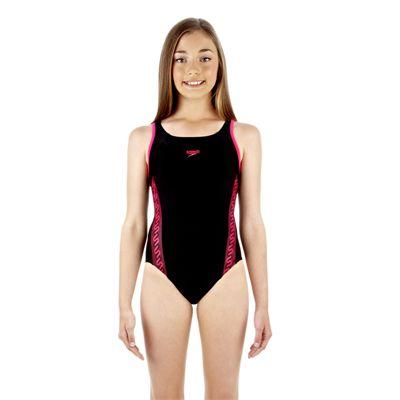 Speedo Monogram Muscleback Girls Swimsuit - Black/Pink