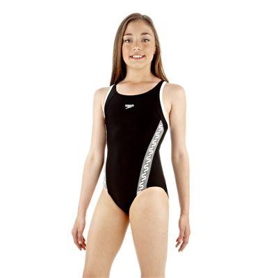 Speedo Monogram Muscleback Girls Swimsuit Black/White - Side View