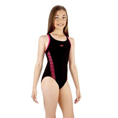 Speedo Monogram Muscleback Girls Swimsuit - Black/Pink - Side View