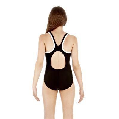 Speedo Monogram Muscleback Girls Swimsuit - Black/White - Back