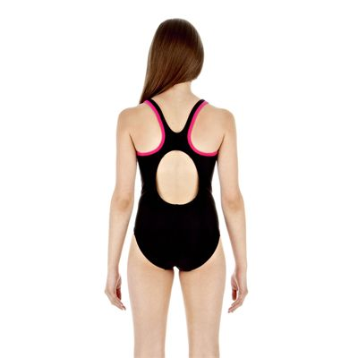 Speedo Monogram Muscleback Girls Swimsuit - Black/Pink - Back