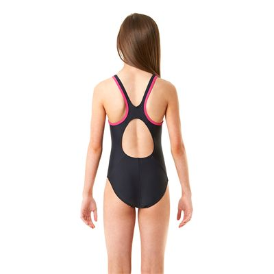 Speedo Monogram Muscleback Girls Swimsuit-Navy and Pink-Back View