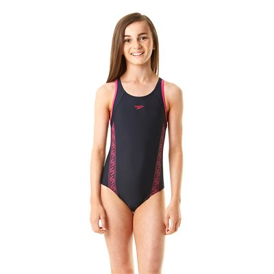 Speedo Monogram Muscleback Girls Swimsuit-Navy and Pink-Front View