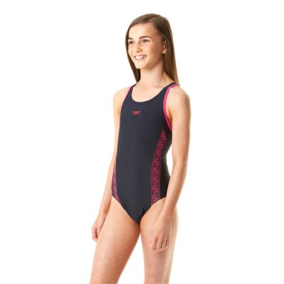 Speedo Monogram Muscleback Girls Swimsuit-Navy and Pink-Side View