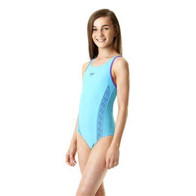 Speedo Monogram Muscleback Girls Swimsuit SS14 - Side View