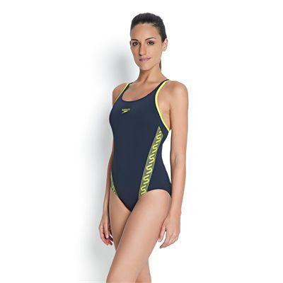 Speedo Monogram Muscleback Ladies Swimsuit - Left Side View