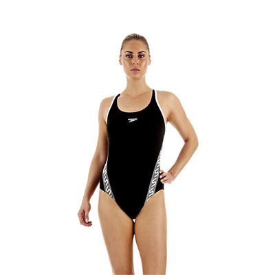 Speedo Monogram Muscleback Ladies Swimsuit Black White