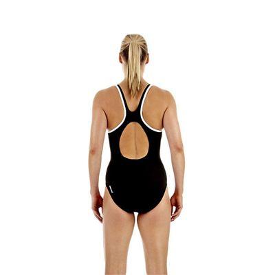 Speedo Monogram Muscleback Ladies Swimsuit Black White Back