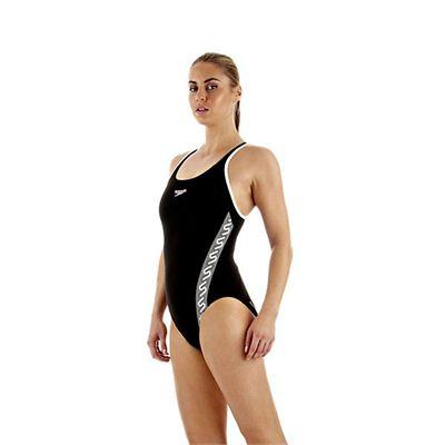 Speedo Monogram Muscleback Ladies Swimsuit Black White Side