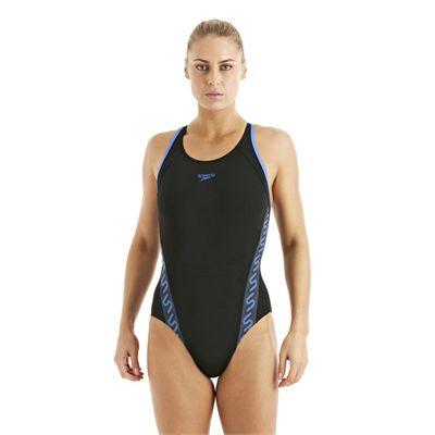 Speedo Monogram Muscleback Ladies Swimsuit SS13 Black Blue