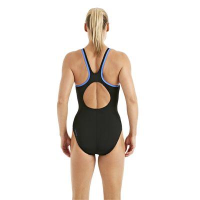 Speedo Monogram Muscleback Ladies Swimsuit SS13 Black Blue back