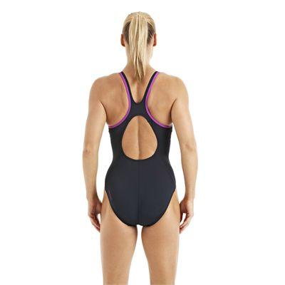 Speedo Monogram Muscleback Ladies Swimsuit SS13 Navy Purple back