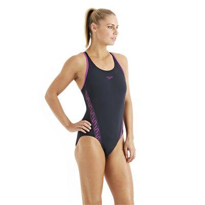Speedo Monogram Muscleback Ladies Swimsuit SS13 Navy Purple side