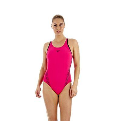 Speedo Monogram Muscleback Ladies Swimsuit SS13 Pink