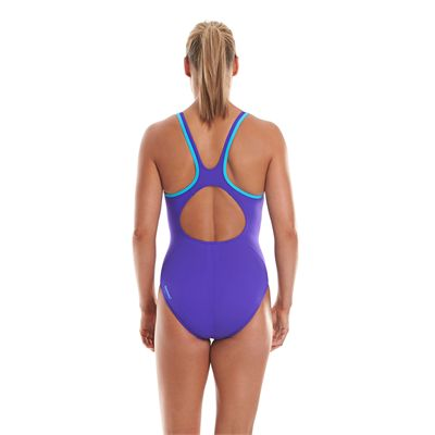 Speedo Monogram Muscleback Ladies Swimsuit Purple And Blue Back View