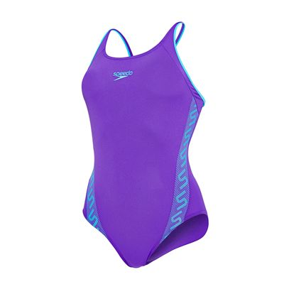 Speedo Monogram Muscleback Ladies Swimsuit Purple And Blue Cutout View