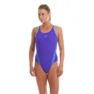 Speedo Monogram Muscleback Ladies Swimsuit Purple And Blue Front View