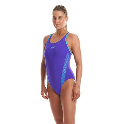 Speedo Monogram Muscleback Ladies Swimsuit Purple And Blue Side View