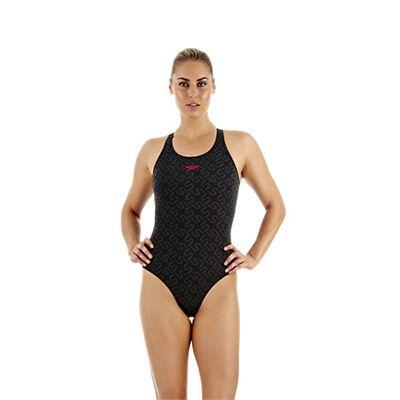 Speedo Monogram Pullback Ladies Swimsuit Black Grey