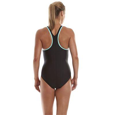 Speedo Monogram Racerback Ladies Swimsuit - Black/Green - Back