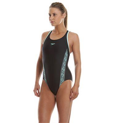 Speedo Monogram Racerback Ladies Swimsuit - Black/Green - Side