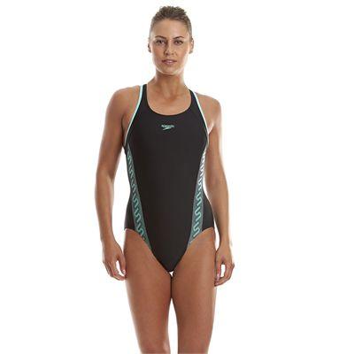 Speedo Monogram Racerback Ladies Swimsuit - Black/Green