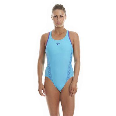 Speedo Monogram Racerback Ladies Swimsuit - Blue Front View