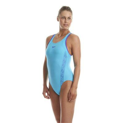 Speedo Monogram Racerback Ladies Swimsuit - Blue Side View