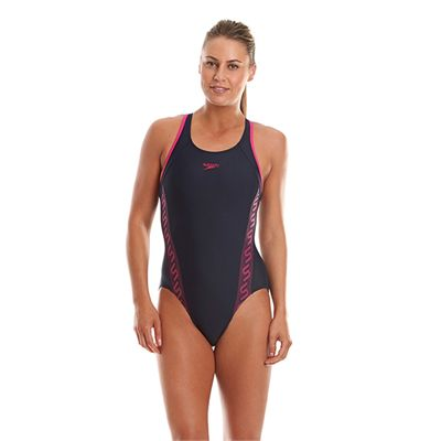 Speedo Monogram Racerback Ladies Swimsuit - Navy Front View