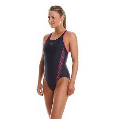 Speedo Monogram Racerback Ladies Swimsuit - Navy Side View