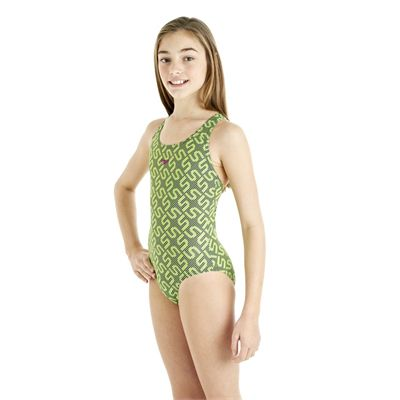 Speedo Monogram Splashback Girls Swimsuit - Green