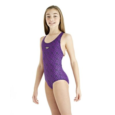 Speedo Monogram Splashback Girls Swimsuit - Purple
