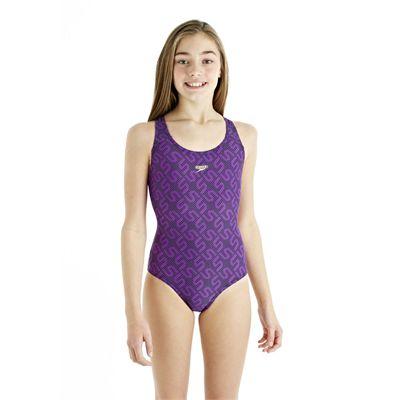 Speedo Monogram Splashback Girls Swimsuit - Purple - Front View