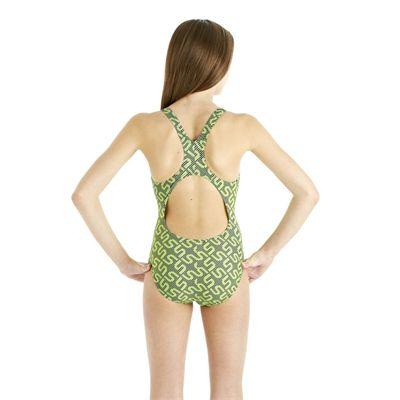 Speedo Monogram Splashback Girls Swimsuit - Green - Back View