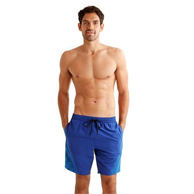 Speedo Monogram Yoke Splice 18 Inch Mens Watershorts Blue Front View
