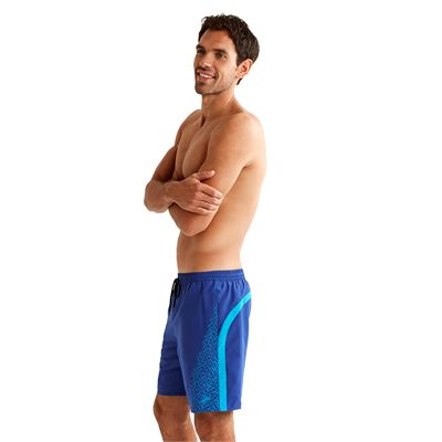 Speedo Monogram Yoke Splice 18 Inch Mens Watershorts Blue Side View