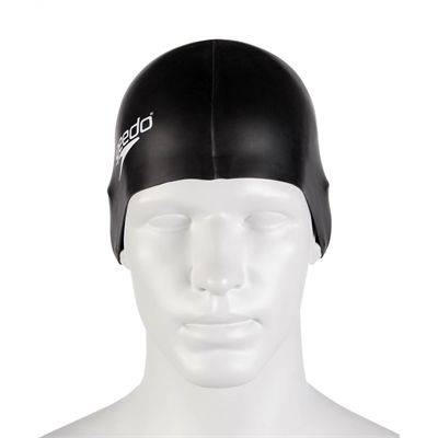 Speedo Plain Flat Silicone Cap - Black - Front
