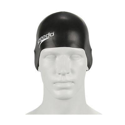 Speedo Plain Moulded Silicone Cap-black-b